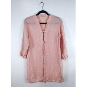 [Anthro] Moth Pink Button Linen Cover Up Tunic